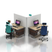L Shape T3 Desk Partitioning