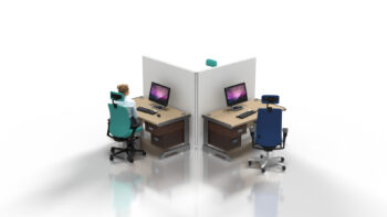 L Shape T3 Desk Partitioning