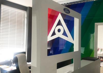 Screen white frame in office