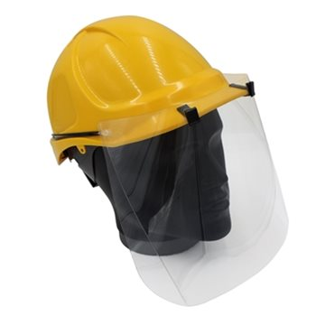 hard hat with visor side view